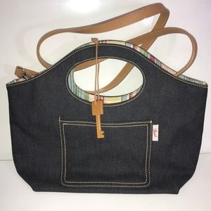 Fossil denim chambray purse w/ shoulder strap